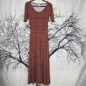 LuLaRoe Ana Maxi Dress Purple & Yellow Print Small